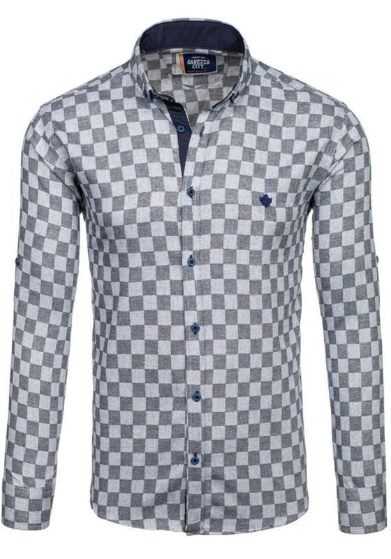 Černá pánská kostkovaná košile s dlouhým rukávem Bolf 01