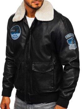 Černá pánská kožená letecká bunda z ekokůže Bolf 4794