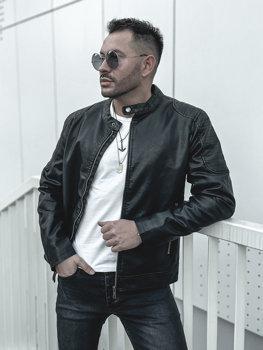 Černá pánská koženková bunda Bolf 1108