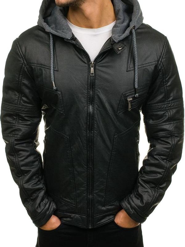 Černá pánská koženková bunda Bolf 3102