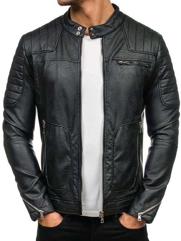 Černá pánská koženková bunda Bolf 9137
