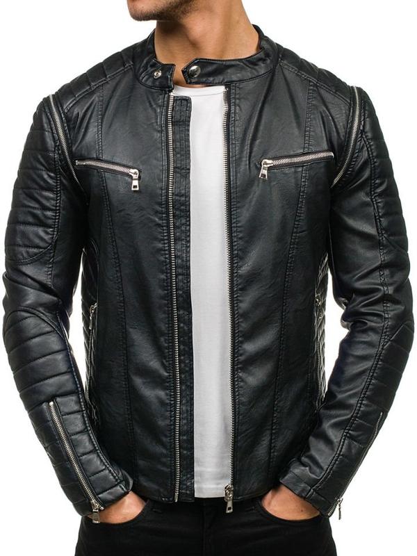 Černá pánská koženková bunda Bolf 9188