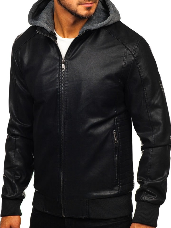 Černá pánská koženková bunda Bolf 92525