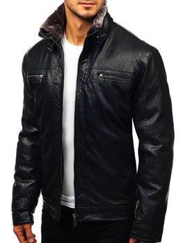 Černá pánská koženková bunda Bolf EX836