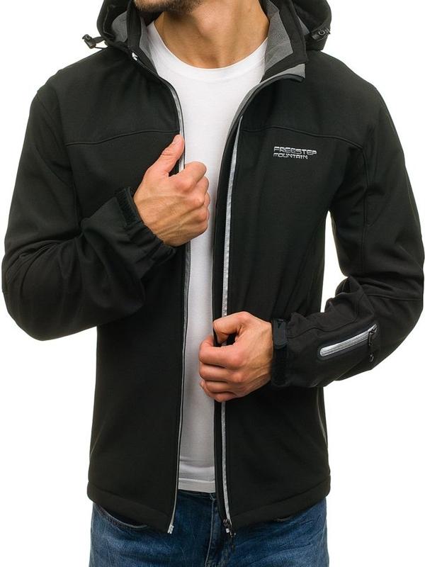 Černá pánská softshellová přechodová bunda Bolf 3045