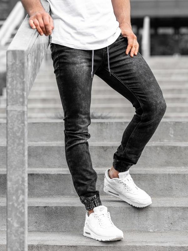 Černé pánské džínové jogger kalhoty Bolf KA1075