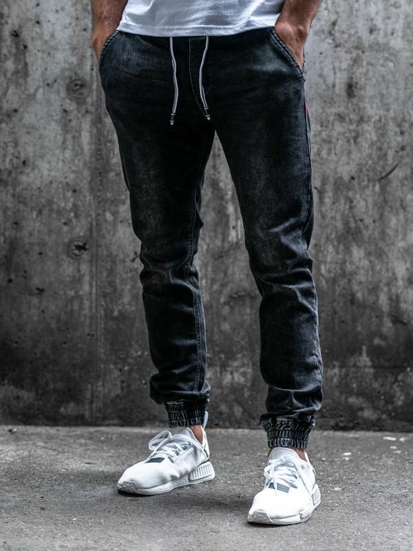 Černé pánské džínové jogger kalhoty Bolf KA1079