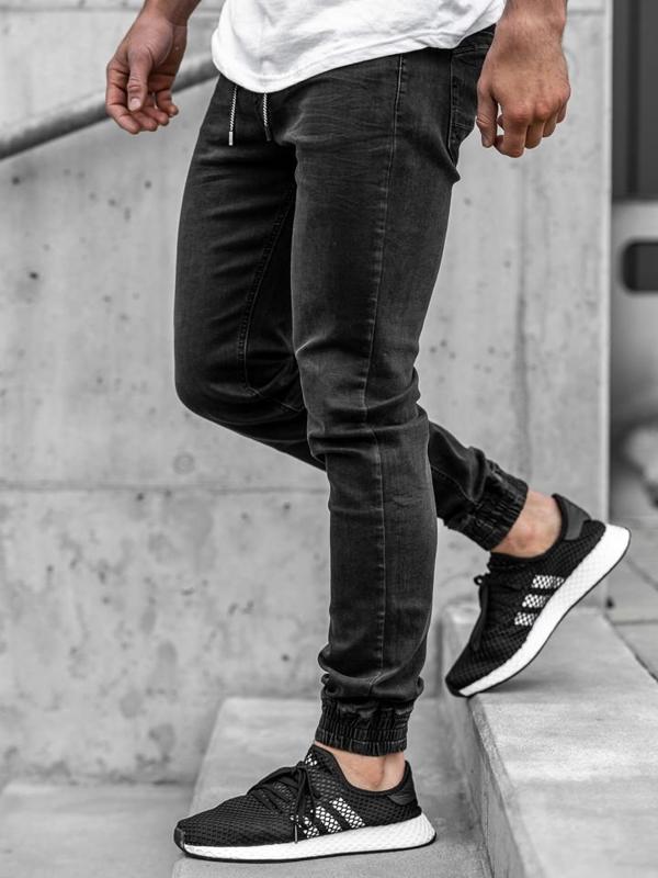 Černé pánské džínové jogger kalhoty Bolf KA1105
