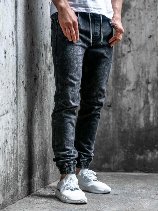 Černé pánské džínové jogger kalhoty Bolf KA1283