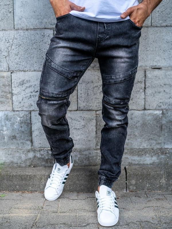 Černé pánské džínové jogger kalhoty Bolf KA573