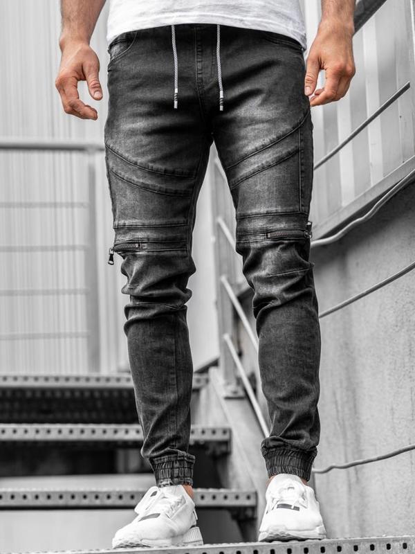 Černé pánské džínové jogger kalhoty Bolf KA763