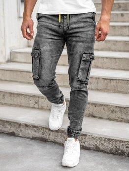 Černé pánské džínové jogger kapsáče Bolf HY687