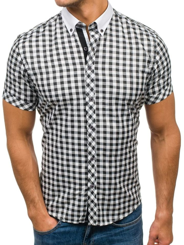 Černo-bílá pánská kostkovaná košile s krátkým rukávem Bolf 5207