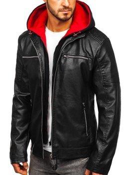 Černo-červená pánská koženková bunda s kapucí Bolf 6131