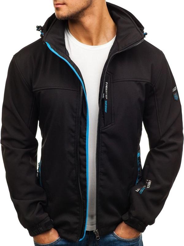 Černo-modrá pánská softshellová bunda Bolf 5532