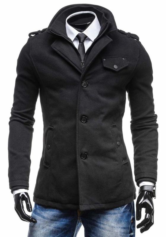 Černý pánský kabát Bolf 8853C