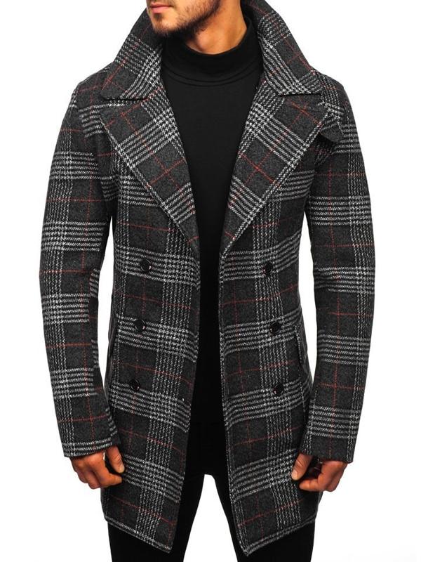 Černý pánský zimní kabát Bolf 1116