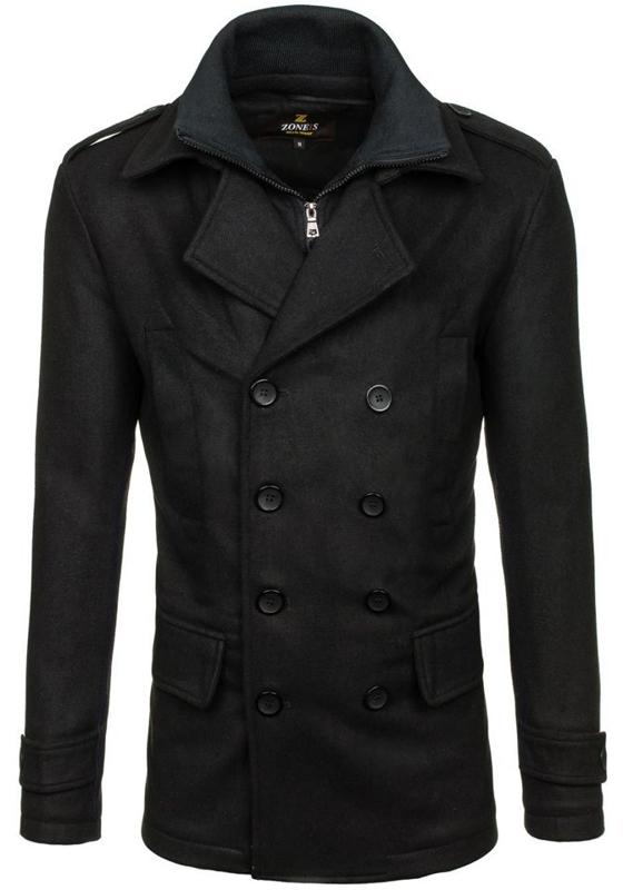 Černý pánský zimní kabát Bolf 307