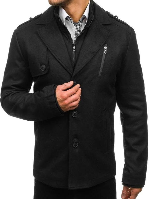 Černý pánský zimní kabát Bolf 3131