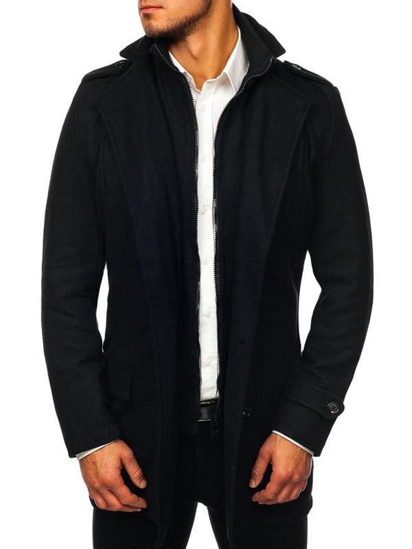 Černý pánský zimní kabát Bolf NZ02