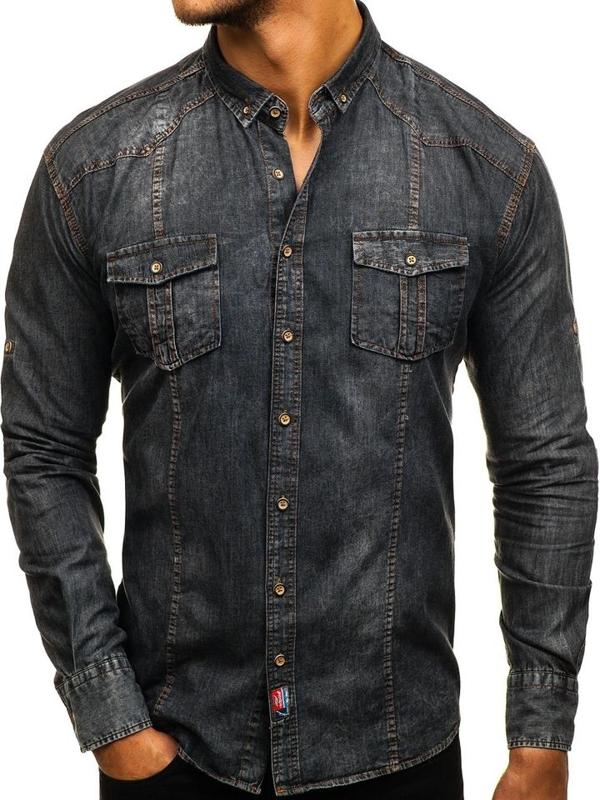 Grafitová pánská džínová košile s dlouhým rukávem Bolf 2304