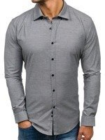 Grafitová pánská elegantní košile s dlouhým rukávem Bolf 9666