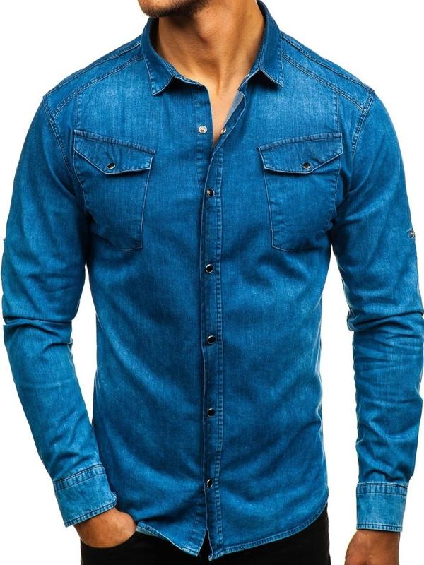 Modrá pánská džínová košile s dlouhým rukávem Bolf 2639