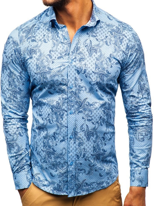 Modrá pánská vzorovaná košile s dlouhým rukávem Bolf 200G63