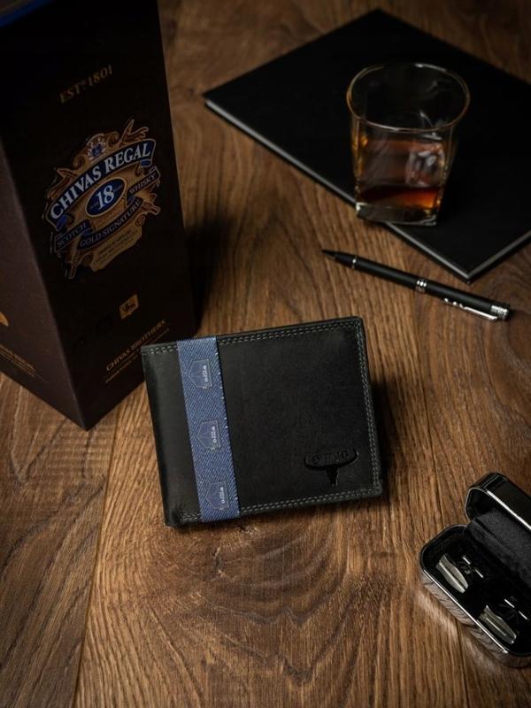 Pánská černá kožená peněženka 2223
