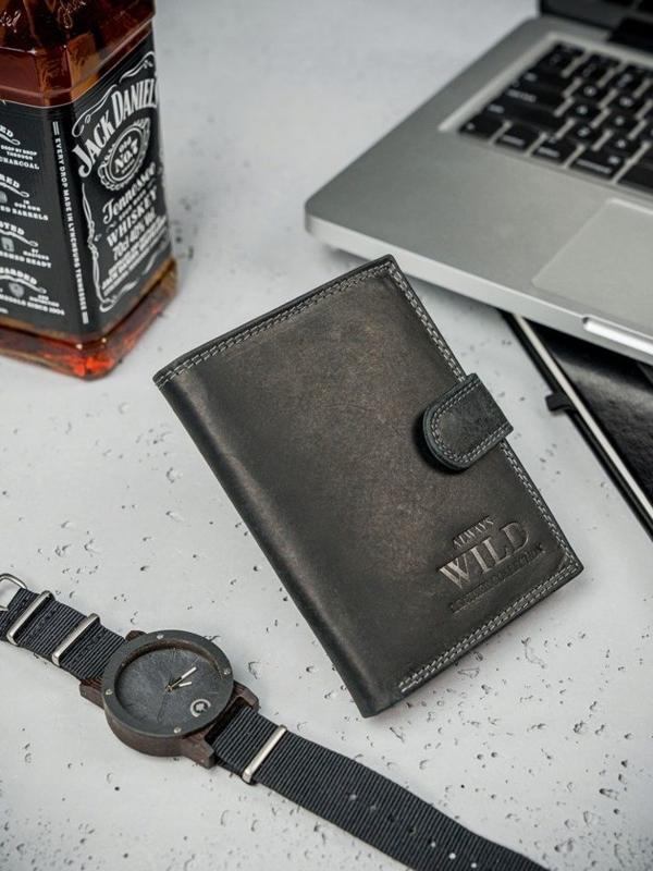 Pánská černá kožená peněženka 3174