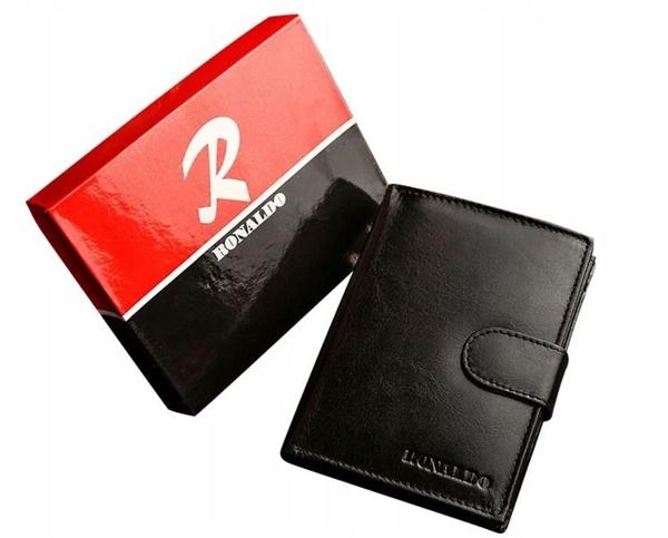Pánská černá kožená peněženka 605