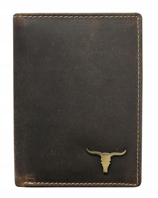 Pánská hnědá kožená peněženka 496