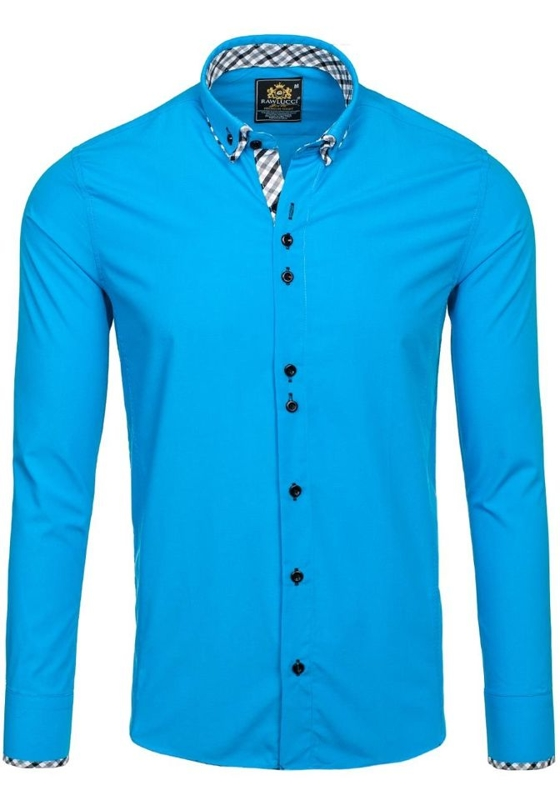 Pánská tyrkysová elegantní košile s dlouhým rukávem Bolf 776
