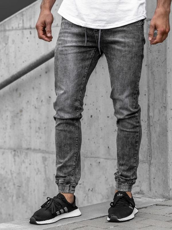 Šedé pánské džínové jogger kalhoty Bolf KA1208