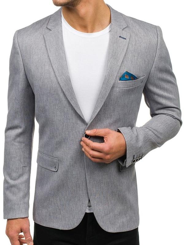 Šedé pánské elegantní sako Bolf 480