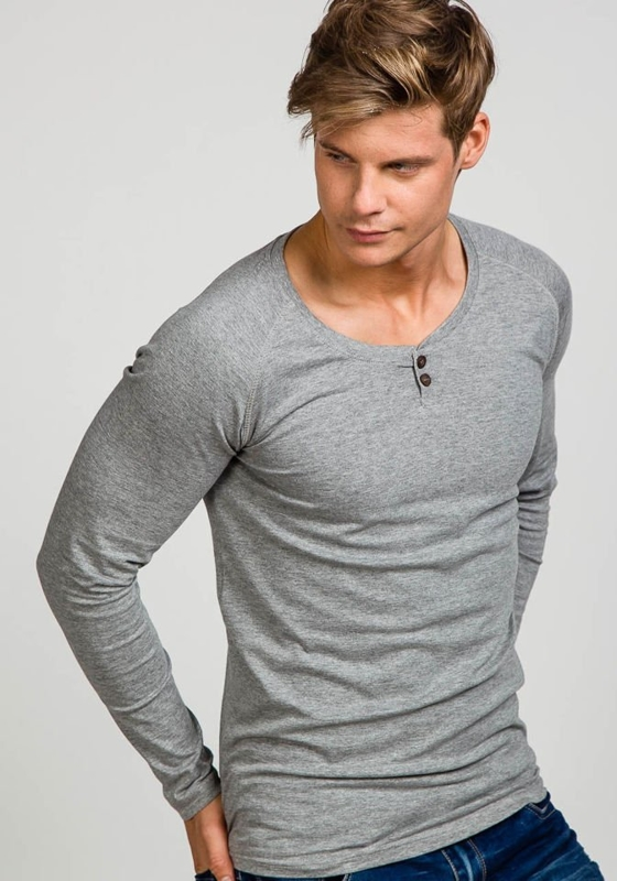 Šedé pánské tričko s dlouhým rukávem bez potisku Bolf 5547