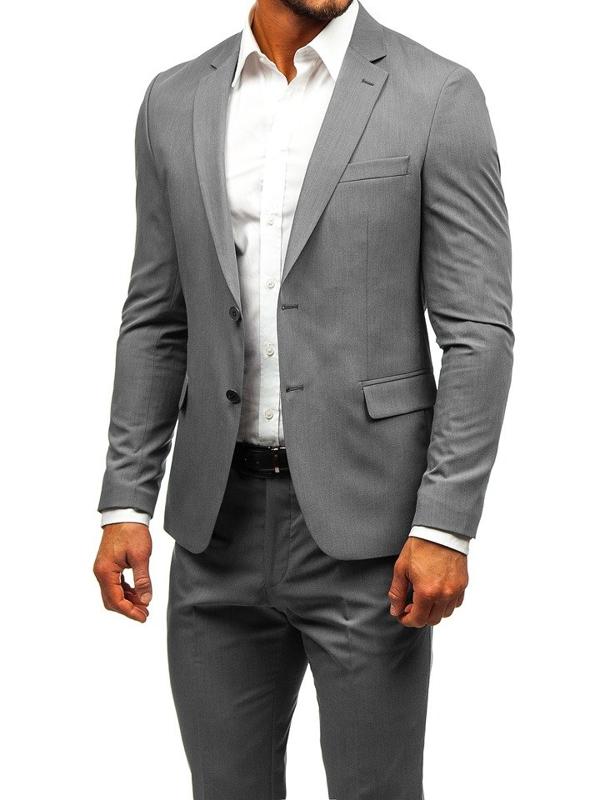 Šedý pánský oblek Bolf 19200