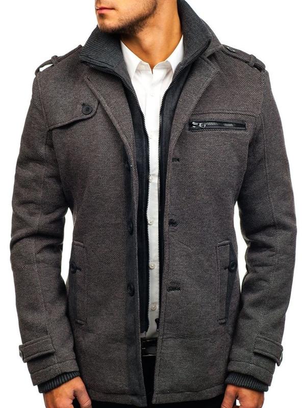 Šedý pánský zimní kabát Bolf 1809