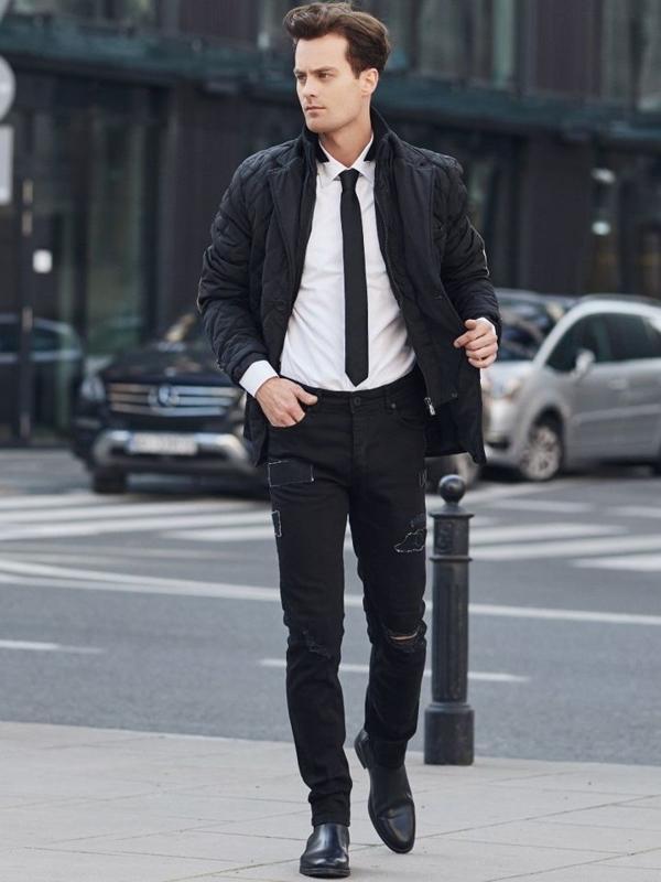 Stylizace č. 329 - přechodová bunda, košile, džíny