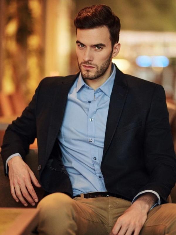 Stylizace č. 395 - elegantní sako, elegantní košile, chino kalhoty