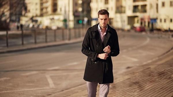 Stylizace č. 418 - kabát, business košile, chino kalhoty