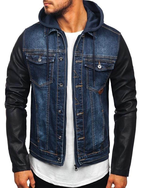 Tmavě modrá pánská džínová bunda Bolf AK530