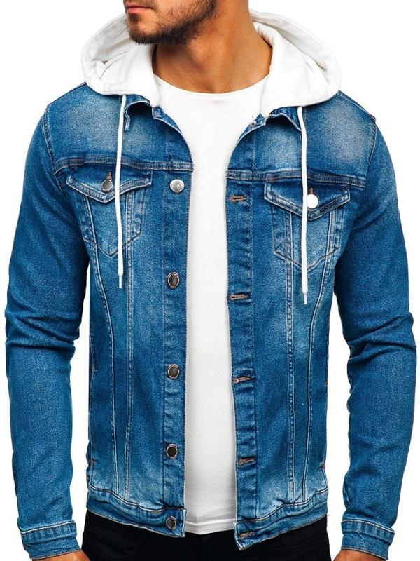 Tmavě modrá pánská džínová bunda s kapucí Bolf 606