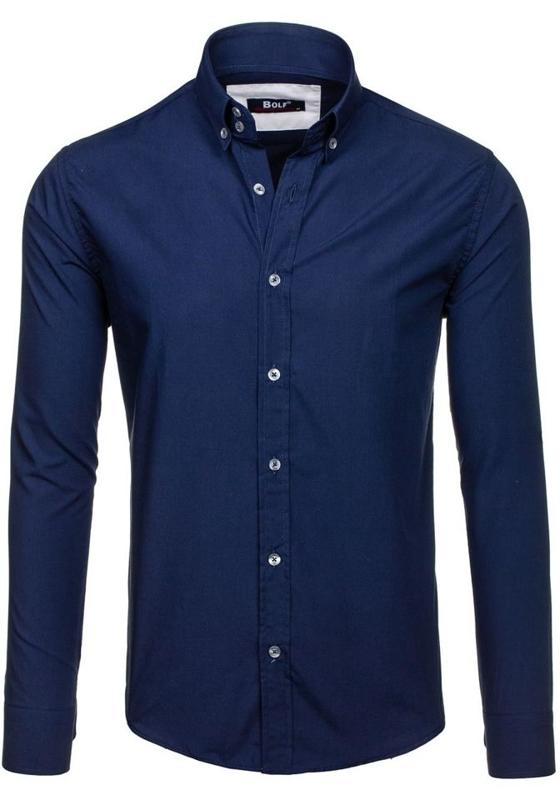 Tmavě modrá pánská elegantní košile s dlouhým rukávem Bolf 6934