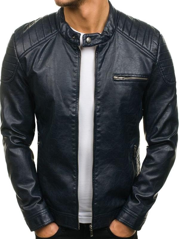 Tmavě modrá pánská kožená bunda z ekokůže Bolf 8816