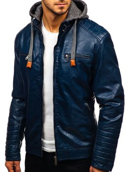 Tmavě modrá pánská koženková bunda Bolf ex702