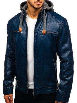 Tmavě modrá pánská koženková bunda Bolf ex706