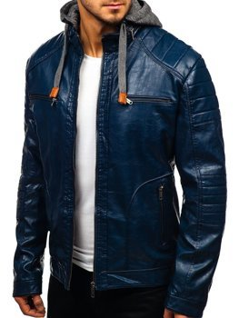 Tmavě modrá pánská koženková bunda Bolf ex707