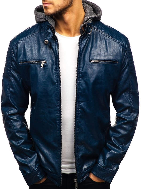 Tmavě modrá pánská koženková bunda Bolf ex709