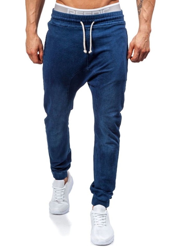 Tmavě modré pánské baggy kalhoty Bolf 2710